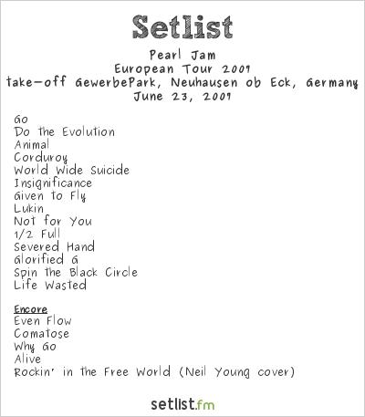 Pearl Jam Setlist Southside Festival 2007, European Tour 2007