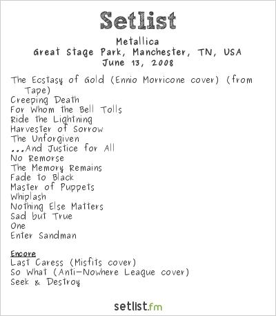 Metallica Setlist Bonnaroo 2008 2008