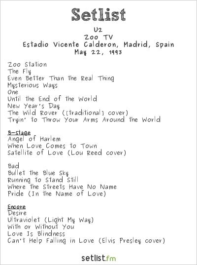 U2 Setlist Estadio Vicente Calderon, Madrid, Spain 1993, Zoo TV Tour