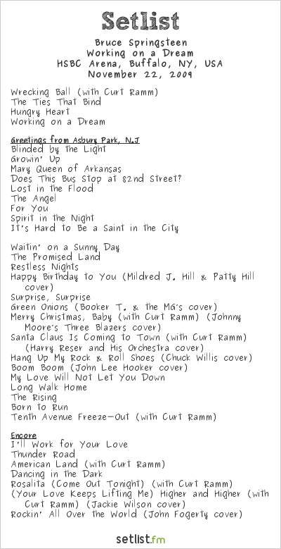 Bruce Springsteen Setlist HSBC Arena, Buffalo, NY, USA 2009, Working on a Dream