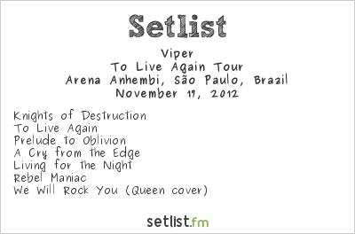 Viper Setlist Arena Anhembi, São Paulo, Brazil 2012