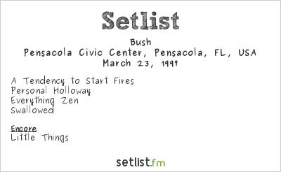 Bush Setlist Pensacola Civic Center, Pensacola, FL, USA 1997