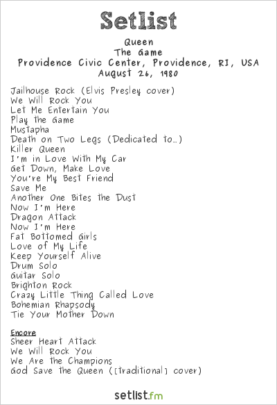 Queen Setlist Providence Civic Center, Providence, RI, USA 1980, The Game