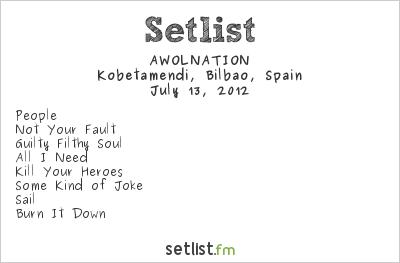 AWOLNATION Setlist Bilbao BBK Live 2012 2012