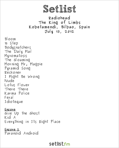 Radiohead Setlist Bilbao BBK Live 2012 2012, The King of Limbs