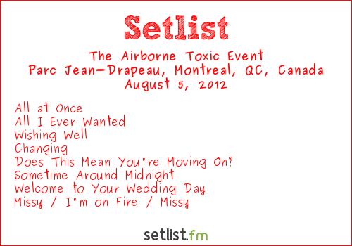 The Airborne Toxic Event Setlist Osheaga Festival 2012 2012