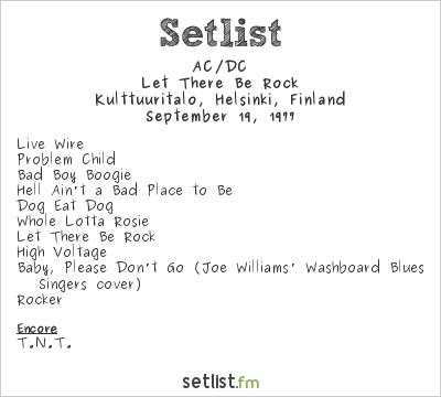 AC/DC Setlist Kulttuuritalo, Helsinki, Finland 1977, Let There Be Rock