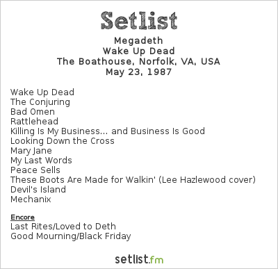Megadeth Setlist The Boathouse, Norfolk, VA, USA 1987, Peace Sells... But Who's Buying?