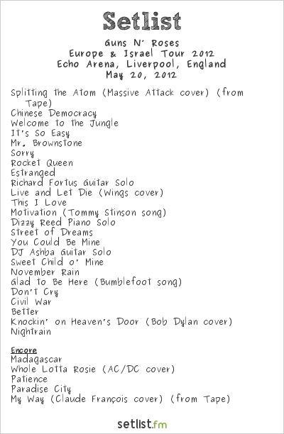 Guns N' Roses Setlist Echo Arena, Liverpool, England 2012, Europe & Israel 2012 Tour