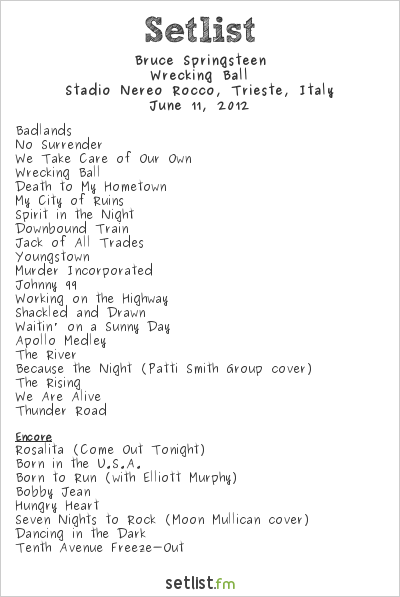 Bruce Springsteen Setlist Stadio Nereo Rocco, Trieste, Italy 2012, Wrecking Ball Tour