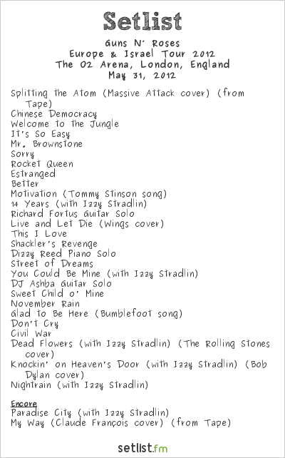Guns N' Roses Setlist The O2 Arena, London, England 2012, 2012 Europe & Israel Tour