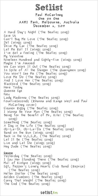 Paul McCartney Setlist AAMI Park, Melbourne, Australia 2017, One on One
