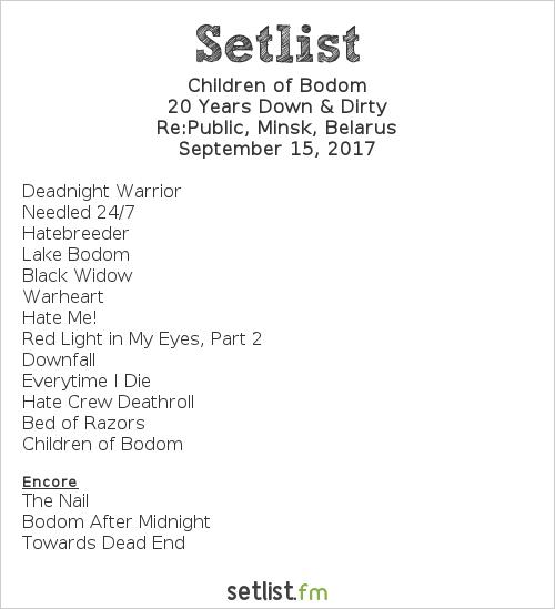Children of Bodom Setlist Re:Public, Minsk, Belarus 2017, 20 Years Down & Dirty