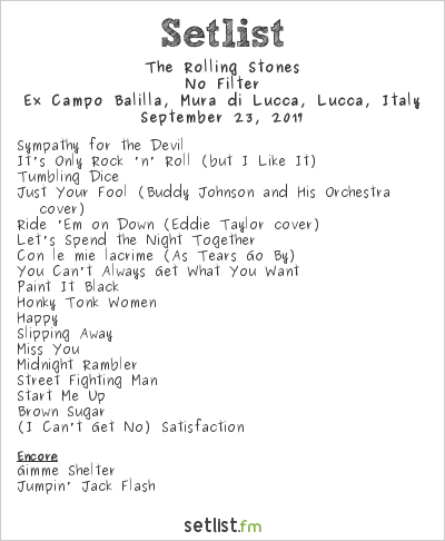The Rolling Stones at Lucca Summer Festival 2017 Setlist