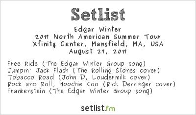 Edgar Winter Setlist Xfinity Center, Mansfield, MA, USA 2017, 2017 North American Summer Tour