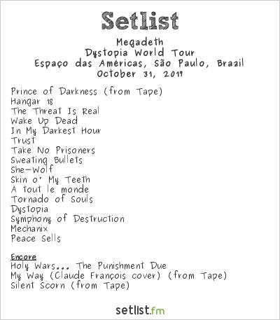 Megadeth Setlist Espaço das Américas, São Paulo, Brazil 2017, Dystopia World Tour