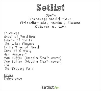 Opeth Setlist Finlandia-talo, Helsinki, Finland 2017, Sorceress World Tour