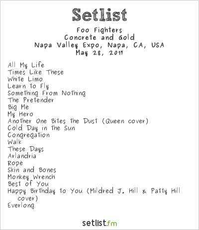Foo Fighters Setlist BottleRock Napa Valley 2017 2017