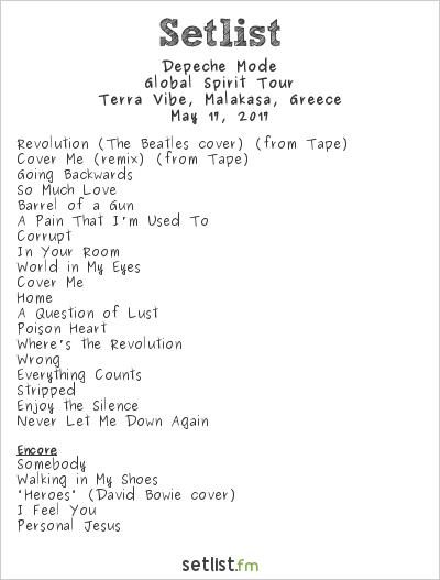 Depeche Mode Setlist Terra Vibe, Malakása, Greece 2017, Global Spirit Tour