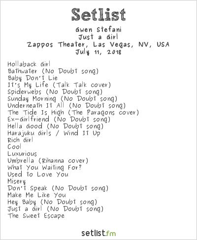 Gwen Stefani Setlist Zappos Theater, Las Vegas, NV, USA 2018