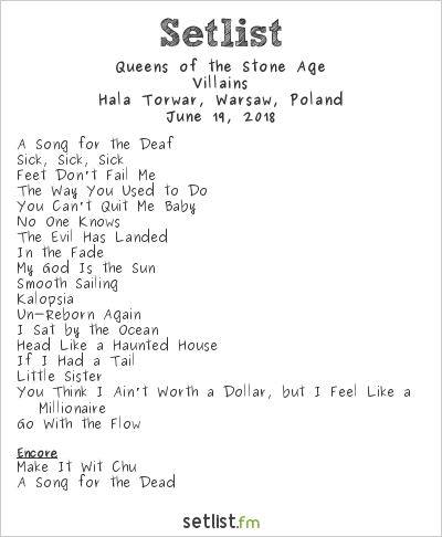 Queens of the Stone Age Setlist Hala Torwar, Warsaw, Poland 2018, Villains