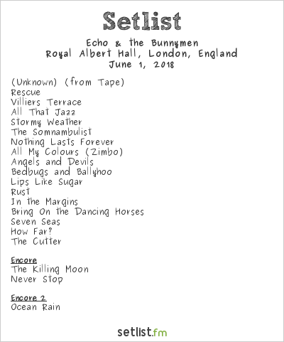 Echo & The Bunnymen Setlist Royal Albert Hall, London, England 2018