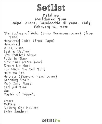 Metallica Setlist Unipol Arena, Casalecchio di Reno, Italy 2018, WorldWired Tour