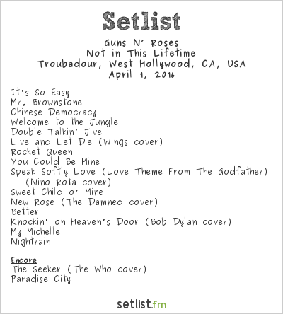Guns N' Roses Setlist Troubadour, West Hollywood, CA, USA 2016, Not in This Lifetime
