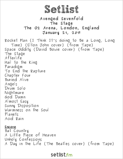 Avenged Sevenfold Setlist The O2 Arena, London, England 2017, The Stage