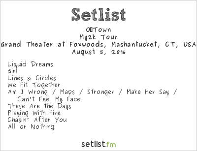 O‐Town Setlist Grand Theater at Foxwoods, Mashantucket, CT, USA 2016, My2k Tour