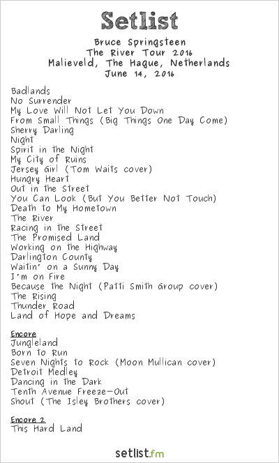 Bruce Springsteen Setlist Malieveld, The Hague, Netherlands, The River Tour 2016