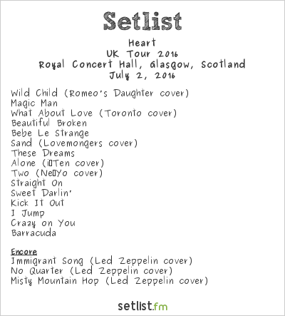 Heart Setlist Royal Concert Hall, Glasgow, Scotland, UK Tour 2016