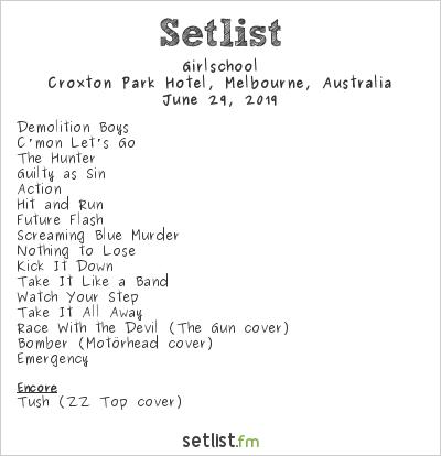 Girlschool at Croxton Park Hotel, Melbourne, Australia Setlist