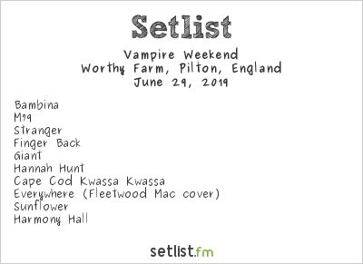 Vampire Weekend Setlist Glastonbury Festival 2019 2019