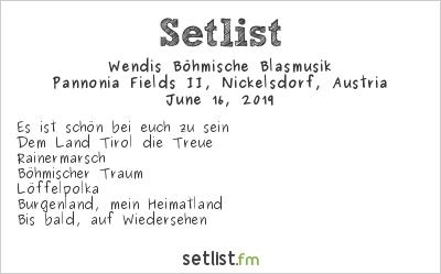 Wendis Böhmische Blasmusik Setlist Nova Rock 2019 2019
