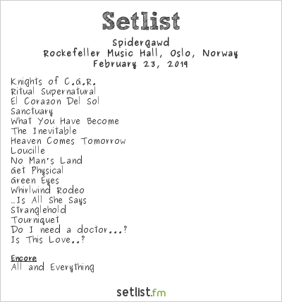 Spidergawd Setlist Rockefeller Music Hall, Oslo, Norway 2019