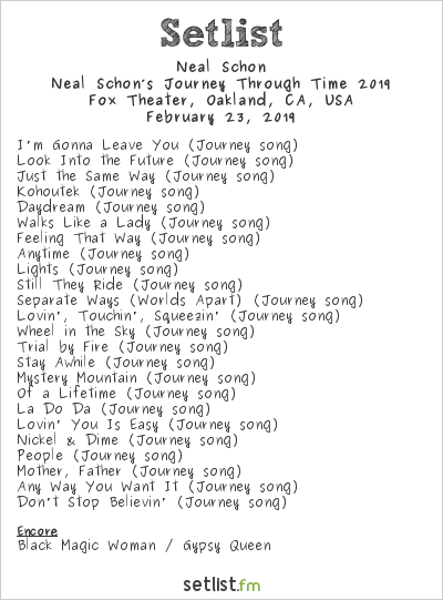 Neal Schon Setlist Fox Theater, Oakland, CA, USA, Neal Schon's Journey Through Time 2019