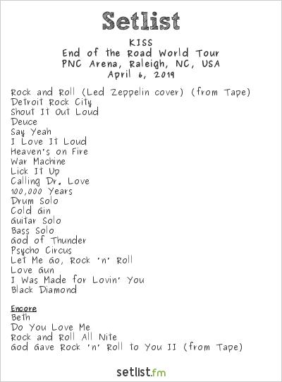 KISS Setlist PNC Arena, Raleigh, NC, USA 2019, End of the Road