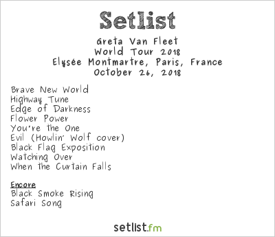 Greta Van Fleet Setlist Élysée Montmartre, Paris, France, World Tour 2018