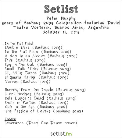 Peter Murphy Setlist Teatro Vorterix, Buenos Aires, Argentina 2018, 40 years of Bauhaus Ruby Celebration featuring David J.