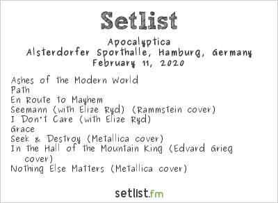 Apocalyptica Setlist Alsterdorfer Sporthalle, Hamburg, Germany 2020