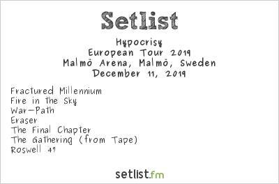 Hypocrisy Setlist Malmö Arena, Malmö, Sweden, European Tour 2019