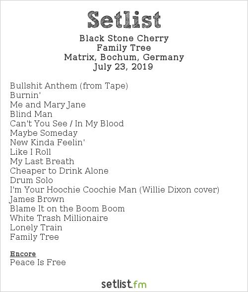Black Stone Cherry Setlist Matrix, Bochum, Germany 2019, Family Tree