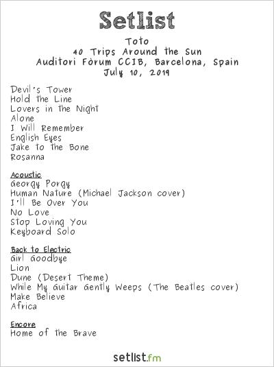 Toto Setlist Auditori Forum, Barcelona, Spain 2019, 40 Trips Around the Sun