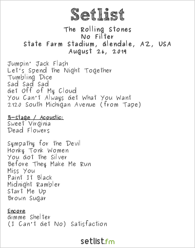 The Rolling Stones Setlist State Farm Stadium, Glendale, AZ, USA 2019, No Filter