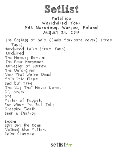 Metallica Setlist PGE Narodowy, Warsaw, Poland 2019, Worldwired Tour