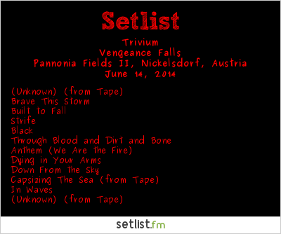 Trivium Setlist Nova Rock 2014 2014, Vengeance Falls