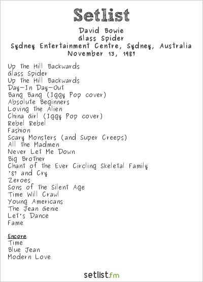 David Bowie Setlist Sydney Entertainment Centre, Sydney, Australia 1987, Glass Spider Tour