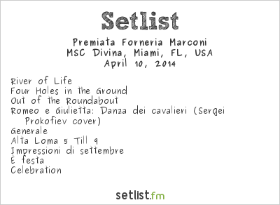 Premiata Forneria Marconi Setlist Cruise to the Edge 2014 2014