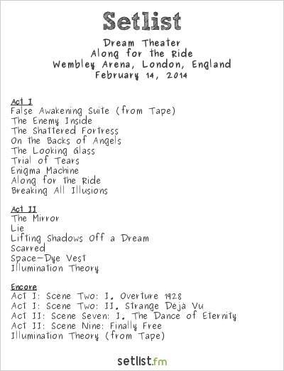 Dream Theater Setlist Wembley Arena, London, England 2014, Along for the Ride